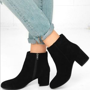 New Steve Madden Holster Black Suede Ankle Booties
